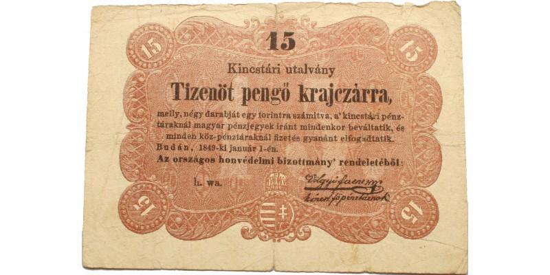 """15 pengő krajcár 1849 """"Budán"""" után vessző tévnyomat"""