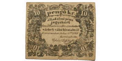 Komárom 10 pengő krajcár 1849