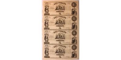 Kossuth 1 forint 1852 felvágatlan ív 4db