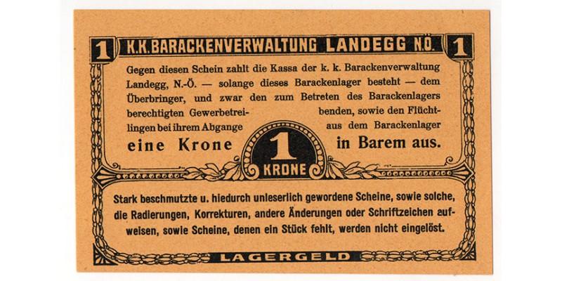 Landegg hadifogolytábor 1 Krone
