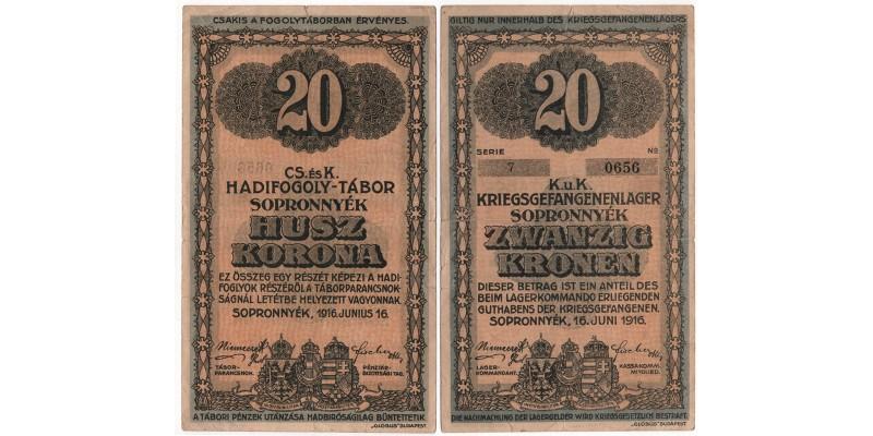 Sopronnyék hadifogolytábor 20 korona 1916