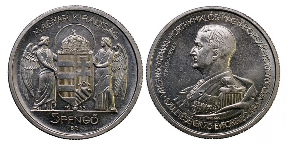 Horthy ezüst 5 pengő 1943 próbaveret RRR!